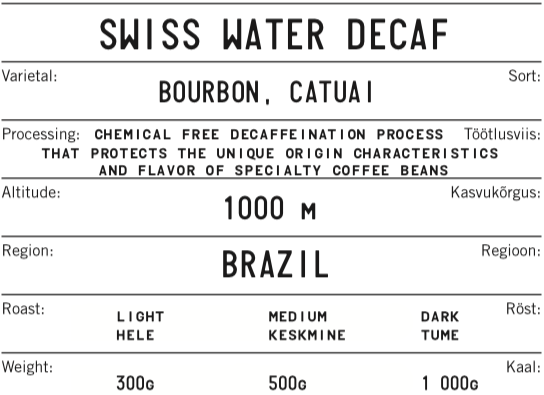 BRAZIL SWISS WATER DECAF
