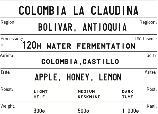 COLOMBIA LA CLAUDINA 120h Water Ferment